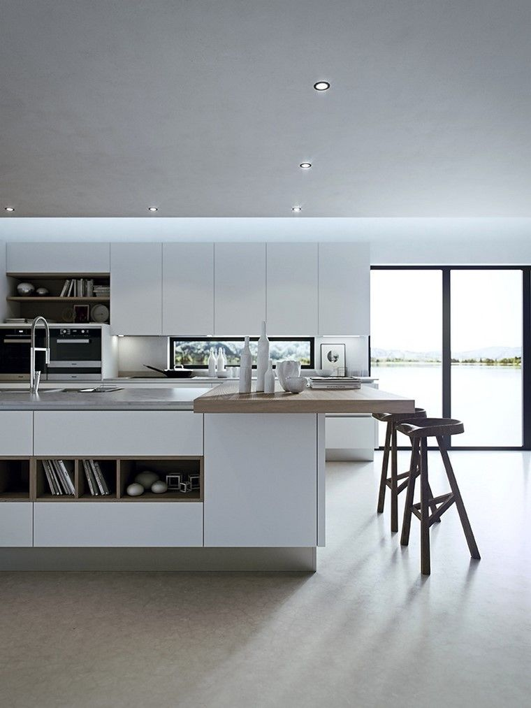 cocina amplia con isla y taburetes altos   cocinas   Pinterest ...