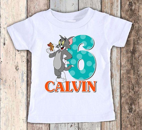 ecbef136d Tom y Jerry cumpleaños diseño personalizado t camisa camiseta