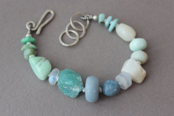 Irish Celtic heart Valentine Blue sodalite pink Jade stretch gemstone bracelet