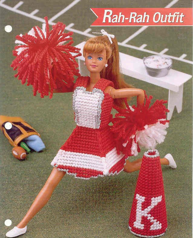 Fashion Doll Rah-Rah Outfit for Cheerleading ~ plastic canvas pattern ~ Cute picclick.com