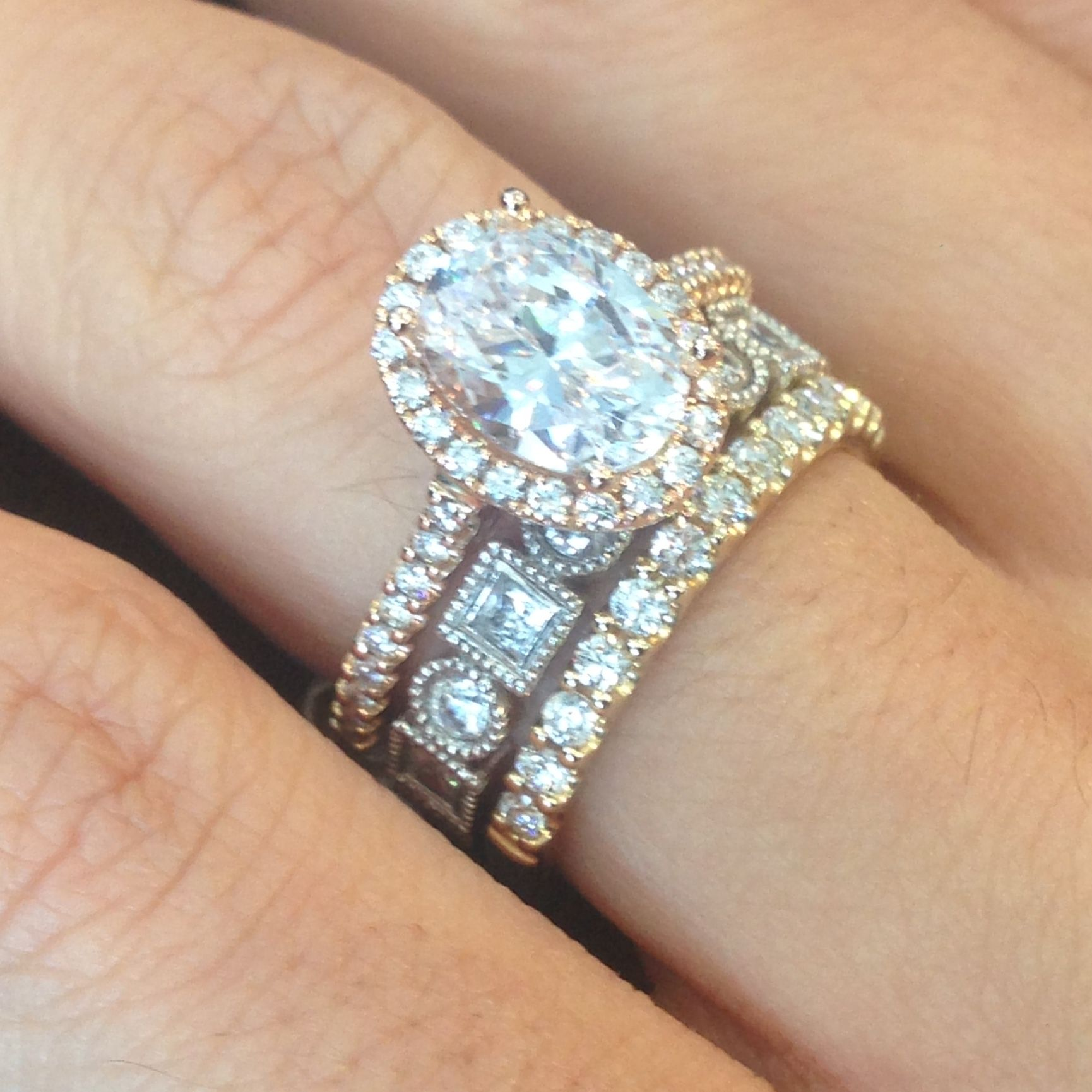 Rose Gold Oval Halo Ring Stackables Yellow Gold Diamond