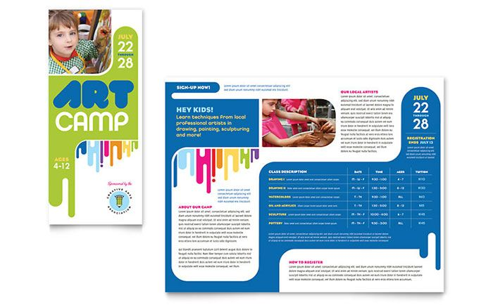 Kids Art Camp Brochure Design Template By Stocklayouts | Art