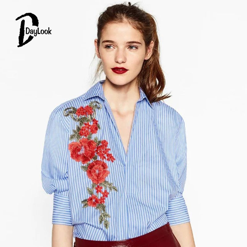 DayLook Chic Autumn Women Long Shift Elegant Cotton Blouse Blue Striped Top  Lantern Sleeve Embroidery Floral