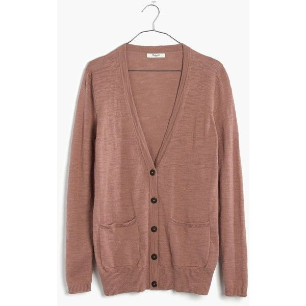 MADEWELL Graduate Cardigan Sweater (395 DKK) ❤ liked on Polyvore featuring tops, cardigans, warm ash, cardigan top, lightweight cardigan, madewell, madewell top and brown tops