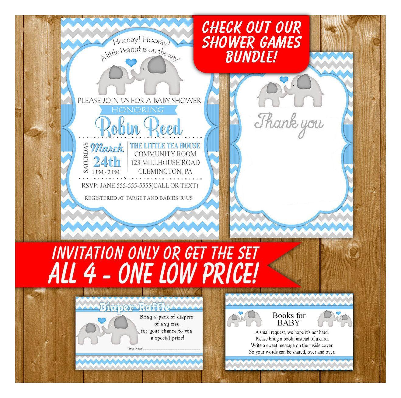 Elephant Baby Shower Invitation, Boy Shower in Blue, Diaper Raffle ...