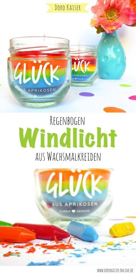 DIY Kerze: Regenbogen Windlicht aus Wachmalstiften - Doro Kaiser | Grafik & Illustration
