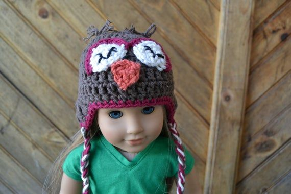 18 inch Doll Clothes - Crocheted Beanie with Ear Flaps - Sleepy Owl - MADE TO ORDER - fits American Girl #18inchdollsandclothes