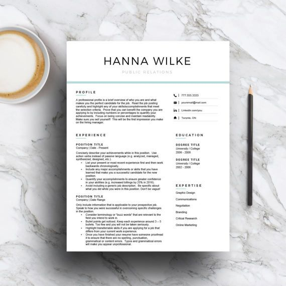 Modern Resume Template for Word and Pages (1, 2, 3 page resume - 3 page resume