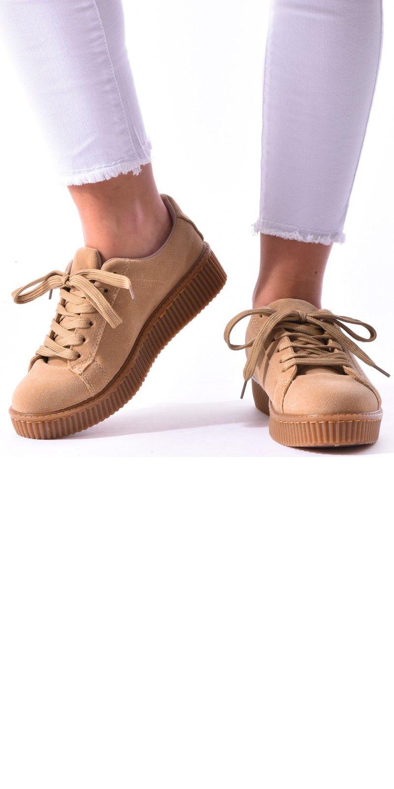Baskets compensées en daim - Jeans Industry