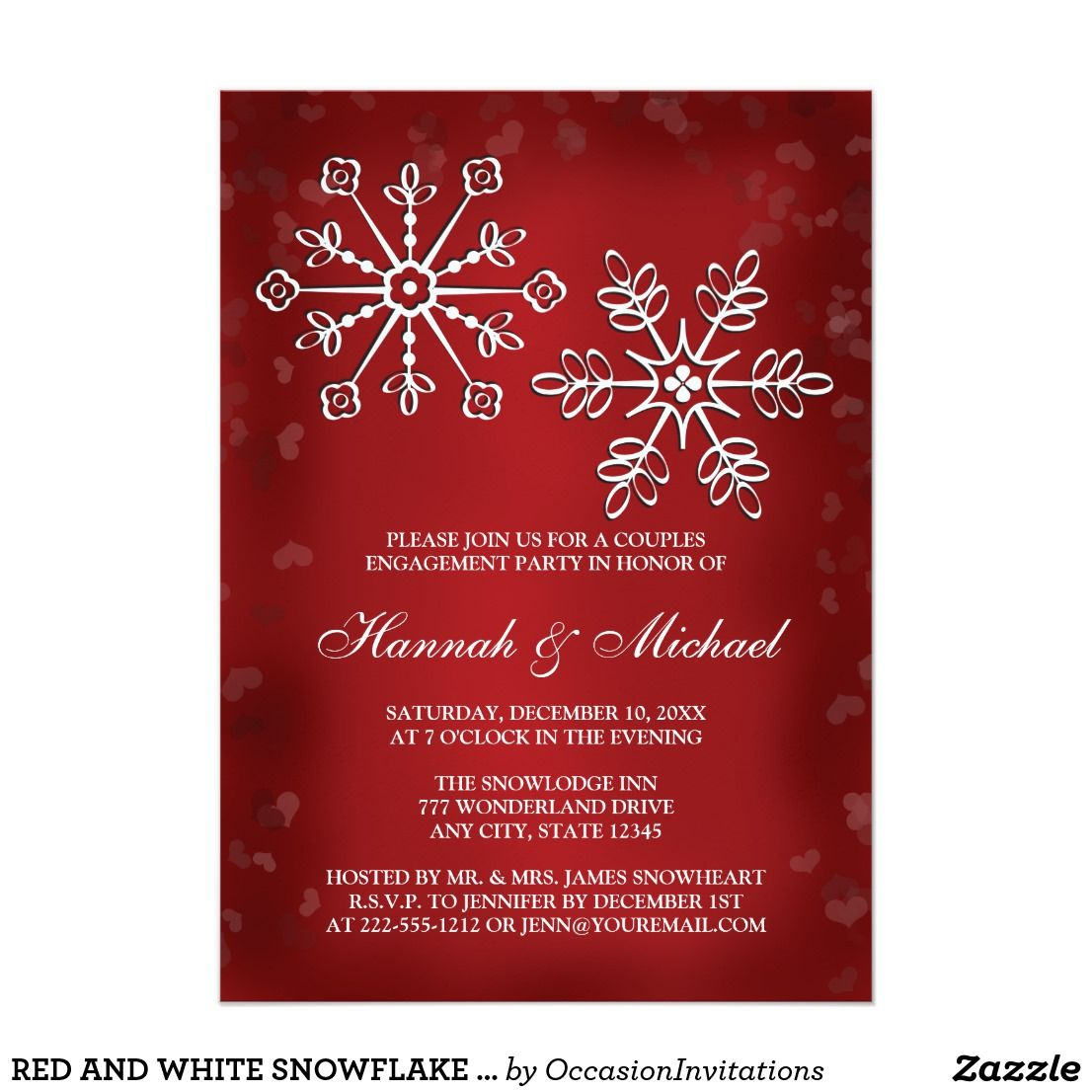 Red and white snowflake couples engagement party card | Engagement ...