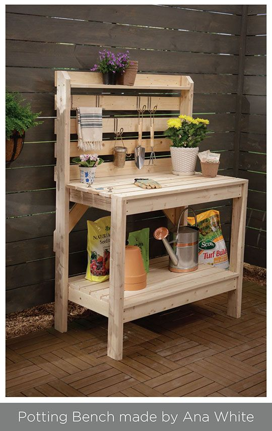 2x4 easy to build potting bench outdoor furniture for Potting shed plans diy blueprints