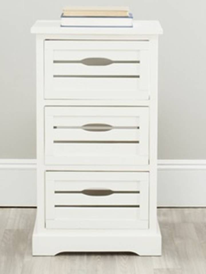 3 Drawer File Cabinet Wood Rustic Pine White Finish Country Shabby