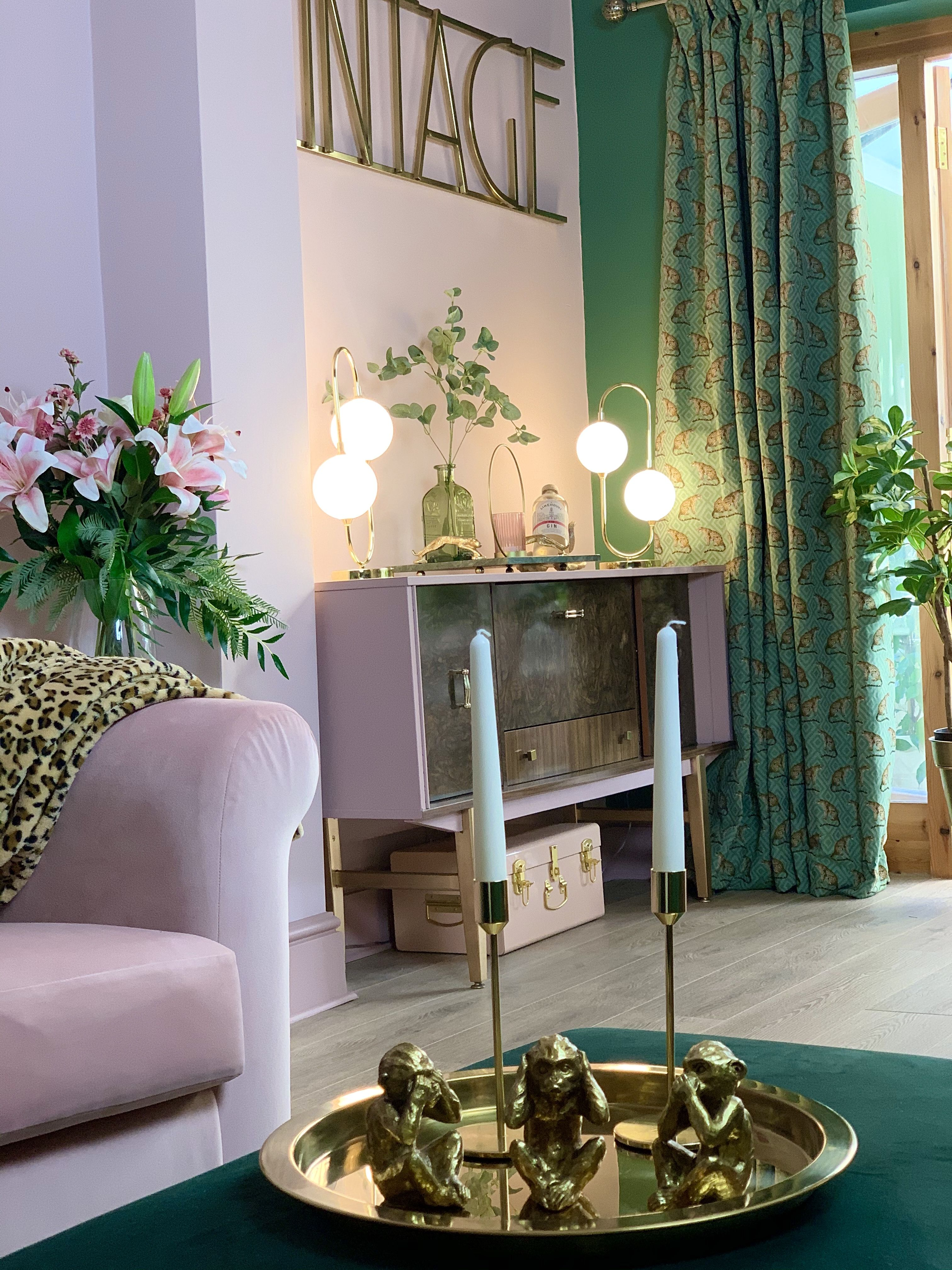 Luxe Glam Vintage Inspired Pink And Green Living Room Living Room Green Pink Living Room Green Master Bedroom