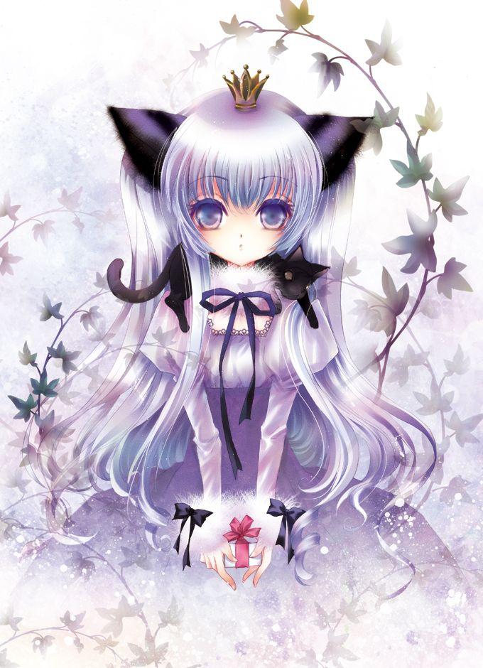 ANIME ART neko. . .cat girl. . .cat ears. . .silver hair