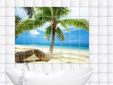 Fliesenaufkleber Fliesenbild Palme Am Strand Badezimmer Fliesenaufkleber Palmen Am Strand Strand Badezimmer
