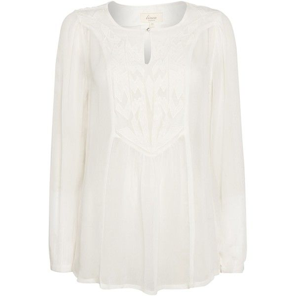 Linea Weekend Cemona embroidered blouse (£15) ❤ liked on Polyvore featuring tops, blouses, clearance, ivory, embroidery blouse, white embroidered top, white tops, ivory blouse and white loose blouse