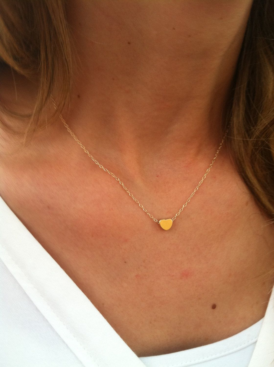 Gold necklace tiny heart necklace small heart necklace simple gold necklace tiny heart necklace small heart necklace simple gold heart necklace aloadofball Images