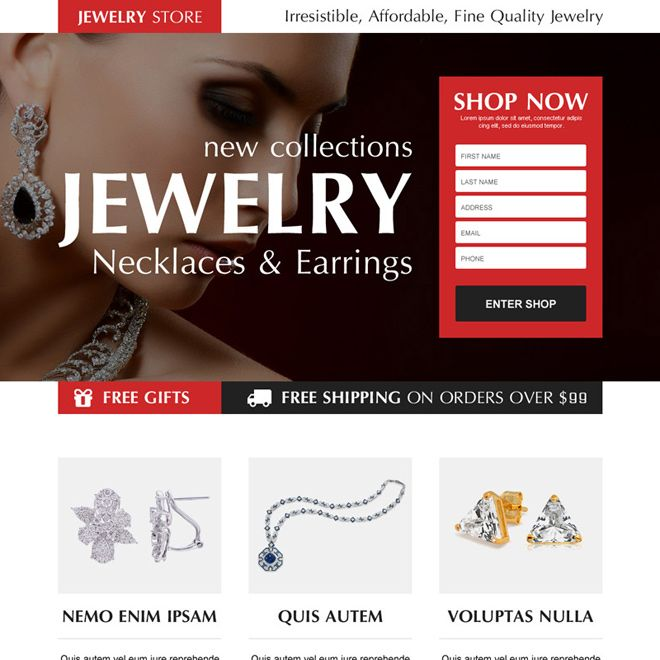 Necklace And Earrings Jewelry Order Now Lead Capture Landing Page Design
