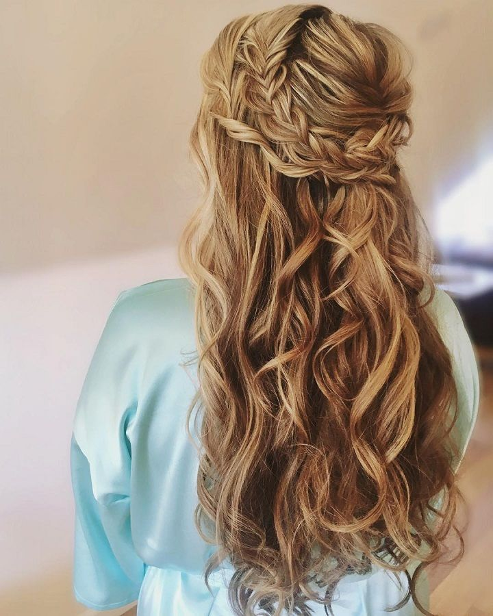 Braided half up half down hairstyle,Braid crown wedding hairstyle perfect for bride and bridesmaids