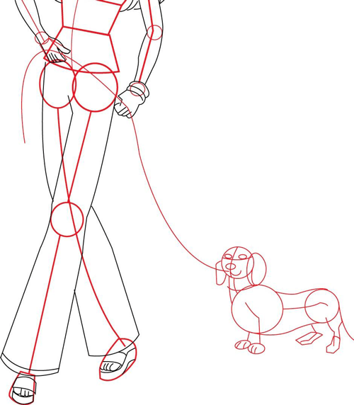 How To Draw Barbie Doll Walking Her Daschund Dog Drawing Lesson
