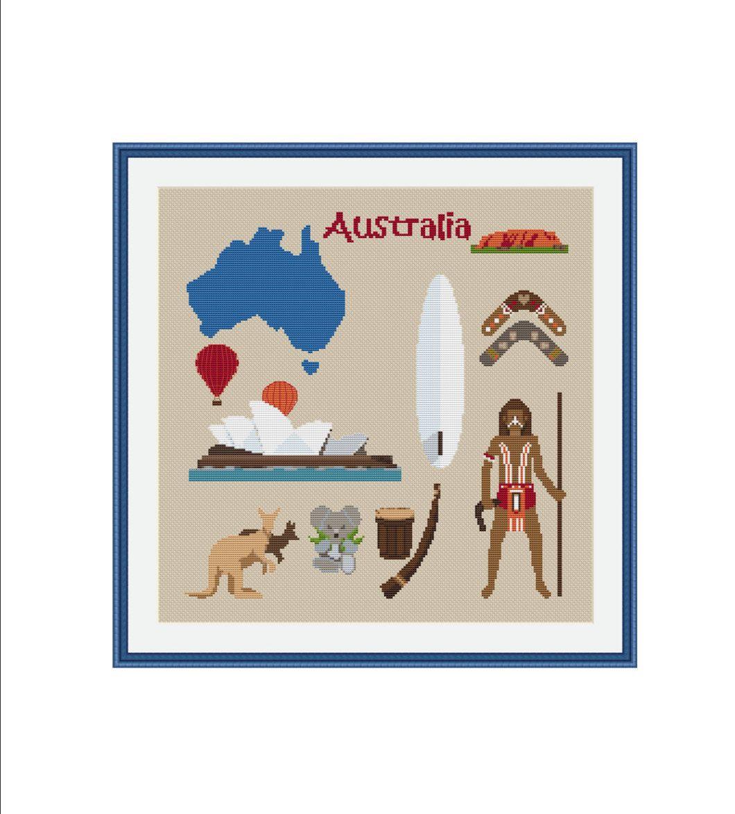 Australia Cross Stitch Pattern Australian Cross Stitch Chart