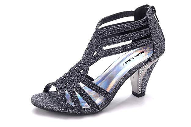 020e7ee89 Amazon.com   Mila Lady Women's Lexie Crystal Dress Heeled Sandals (Kimi 25)