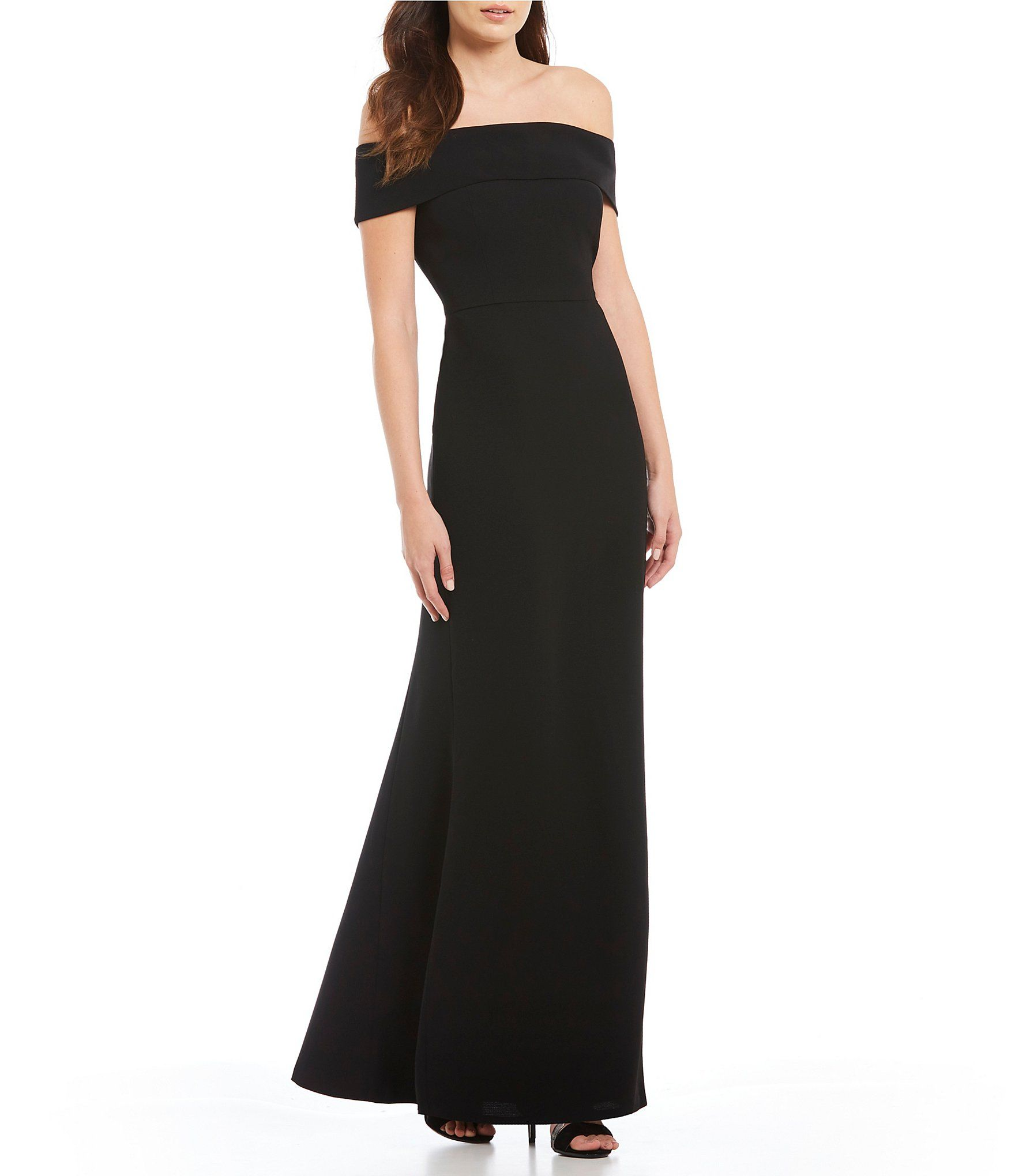 For Calvin Klein Off The Shoulder Portrait Collar Gown At Dillards