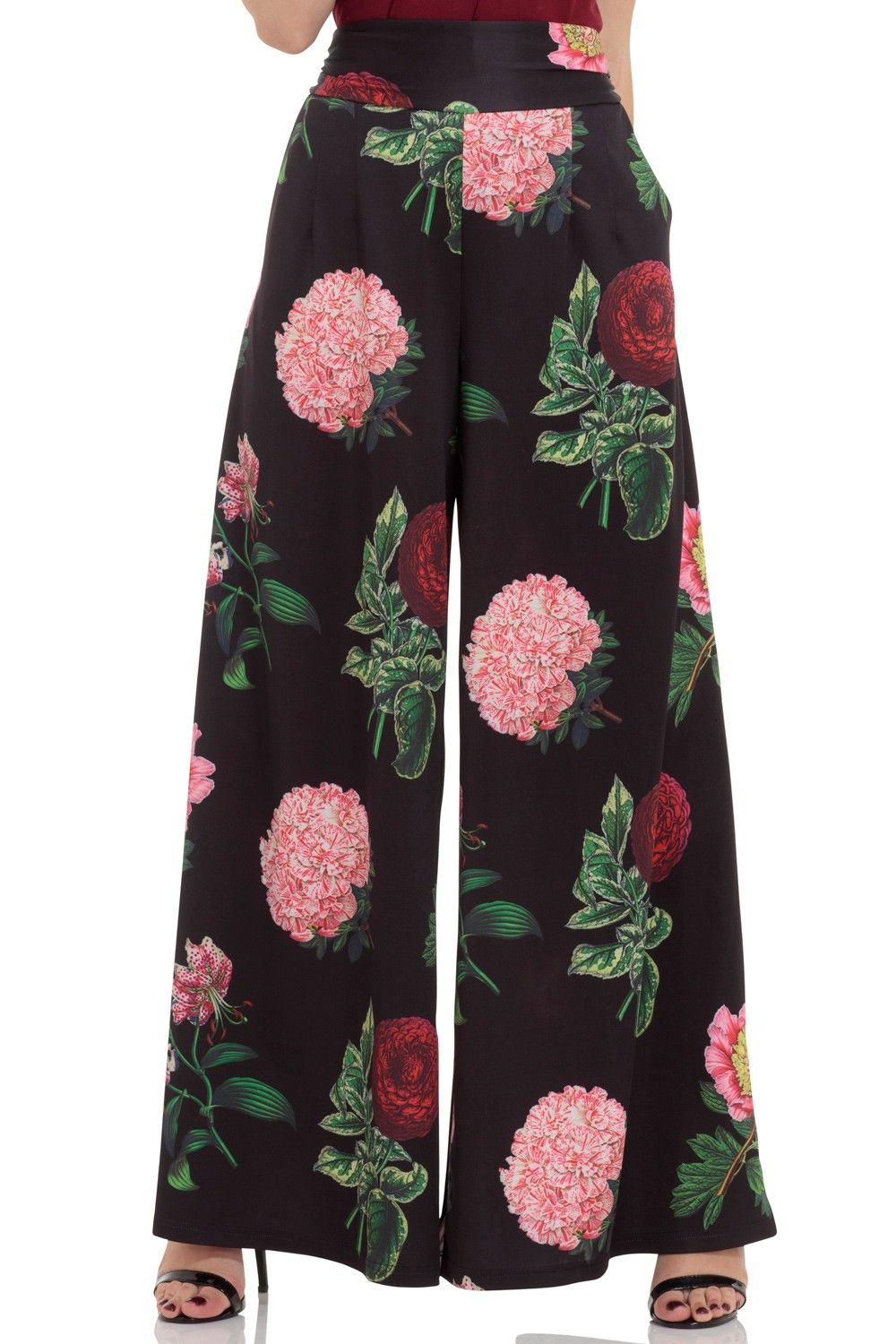 NEW Womens Pink Floral PALAZZO Pants Elasticated Waist Stretch TROUSERS Bottoms