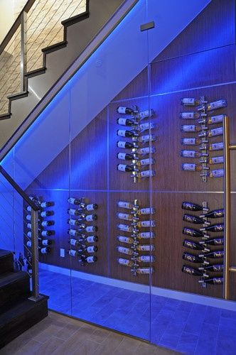 P wine cellar under stairs with led lighting led for Wine cellar lighting ideas
