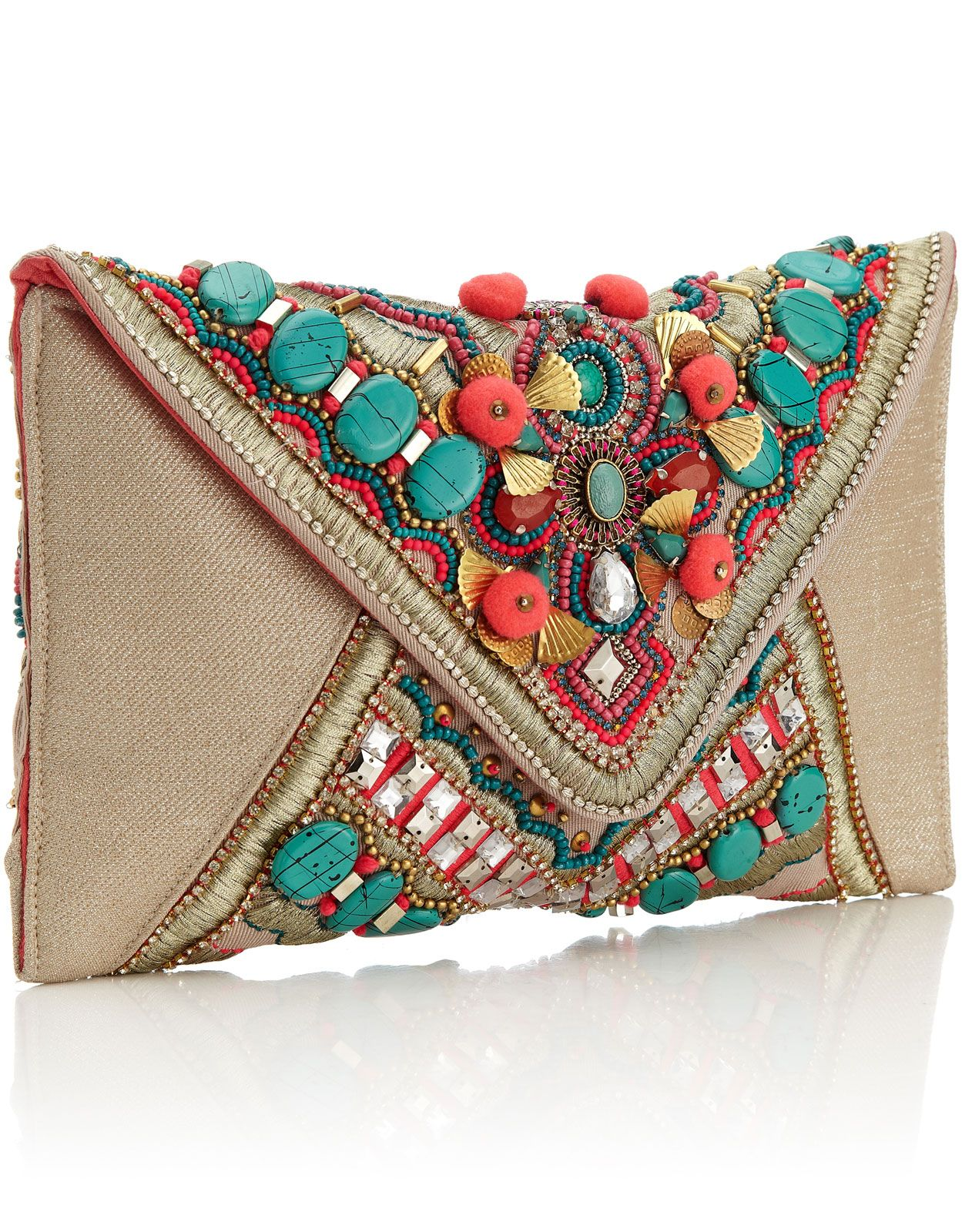 8146a660195b Gem Salinas Beaded Clutch 3892599900  88.00 Bright and fun embellished  envelope clutch with large turquoise beading, pink pom poms and bright  beading and ...