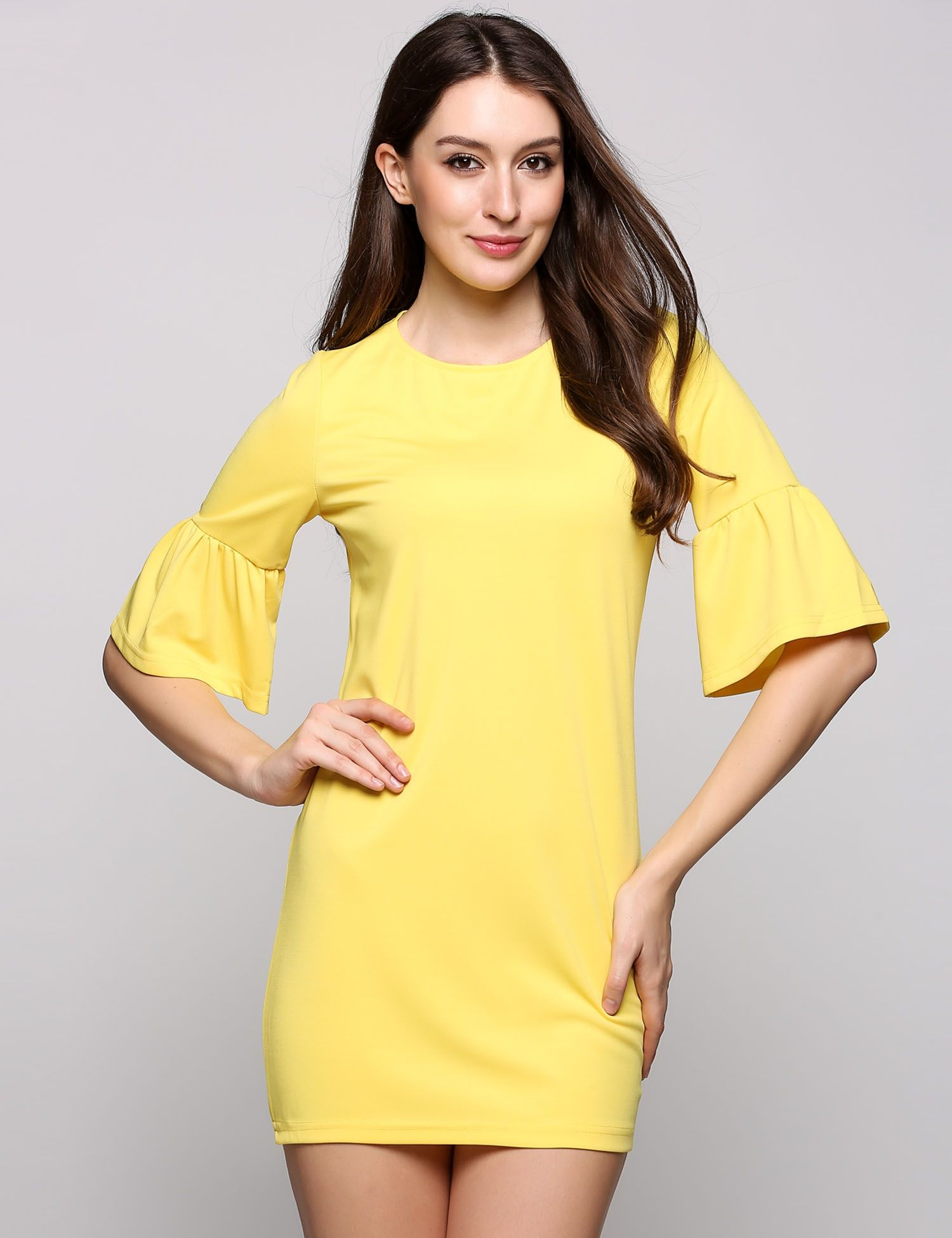 Yellow half out sleeve dress going out dresses pinterest
