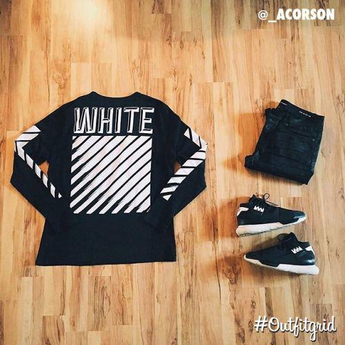 Today's top #outfitgrid is by @_acorson ▫️#OffWhite #Tee ▫️#SaintLaurent #Denim ▫️#AdidasY3 #Qasa #flatlay #flatlayapp #flatlays