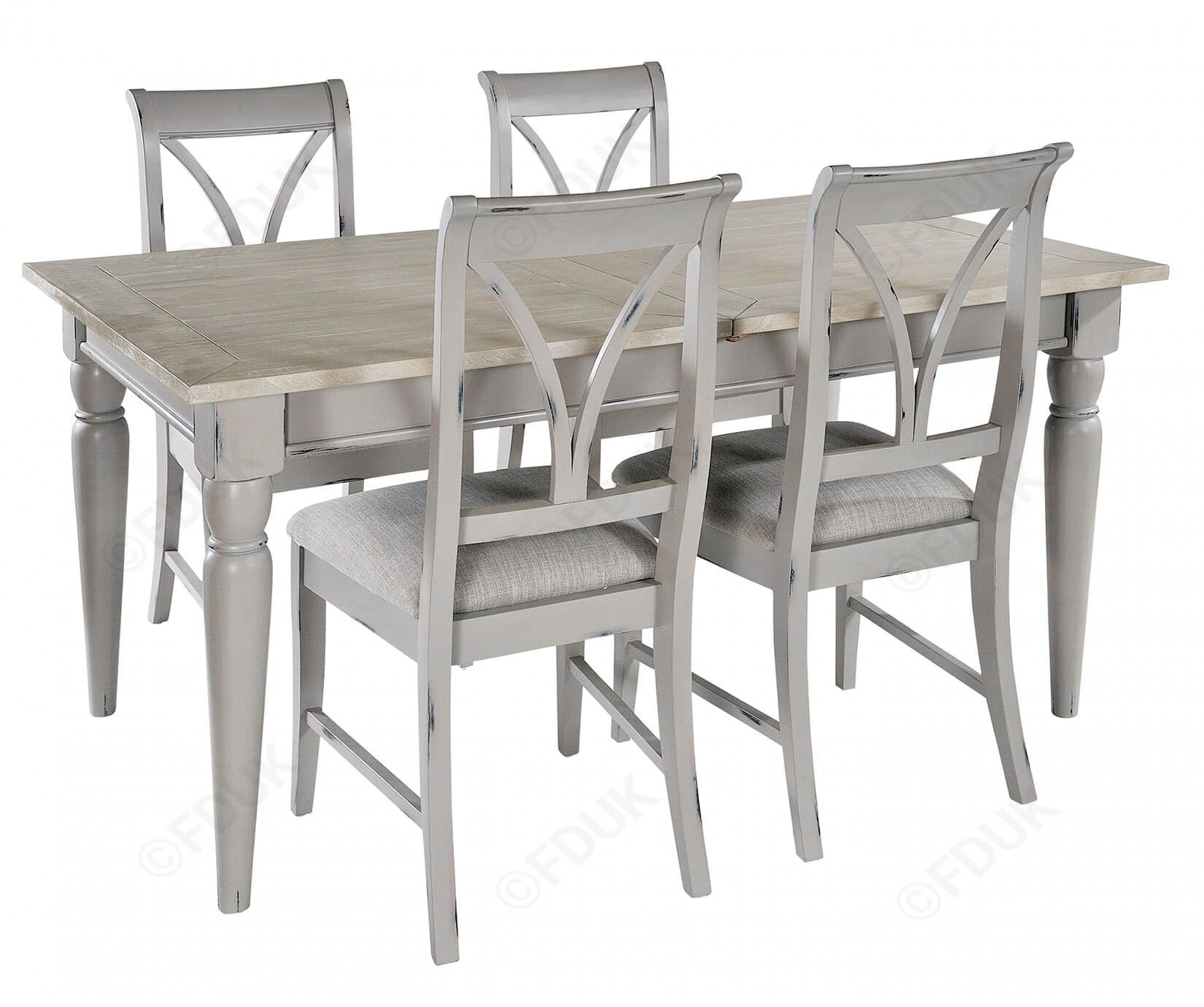 Grey Extending Dining Table with 4 Chairs