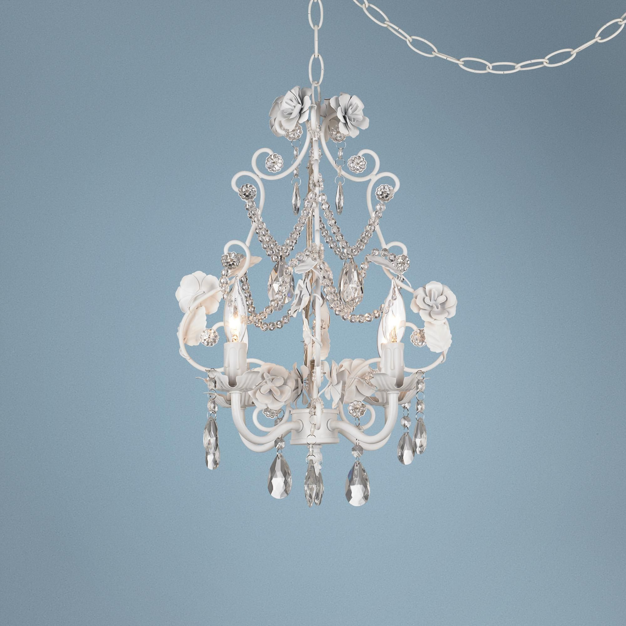 White Floral With Crystal Accents Plug In Swag Chandelier Style
