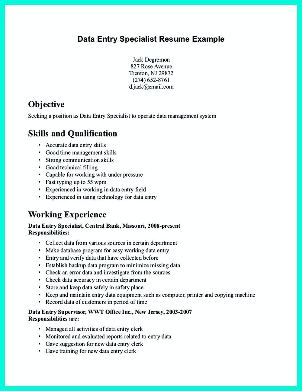 resume How To Write Responsibilities In Resume your data entry resume is the essential marketing key to get job examples