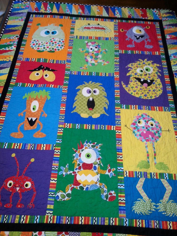 Kinder Quilt Patronen.Mini Monster Quilt Pattern Applique Pinterest Deken Quilts