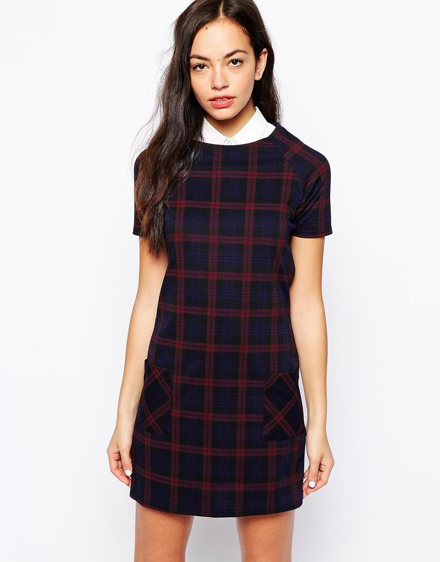 New look check print shift dress with pockets check printing