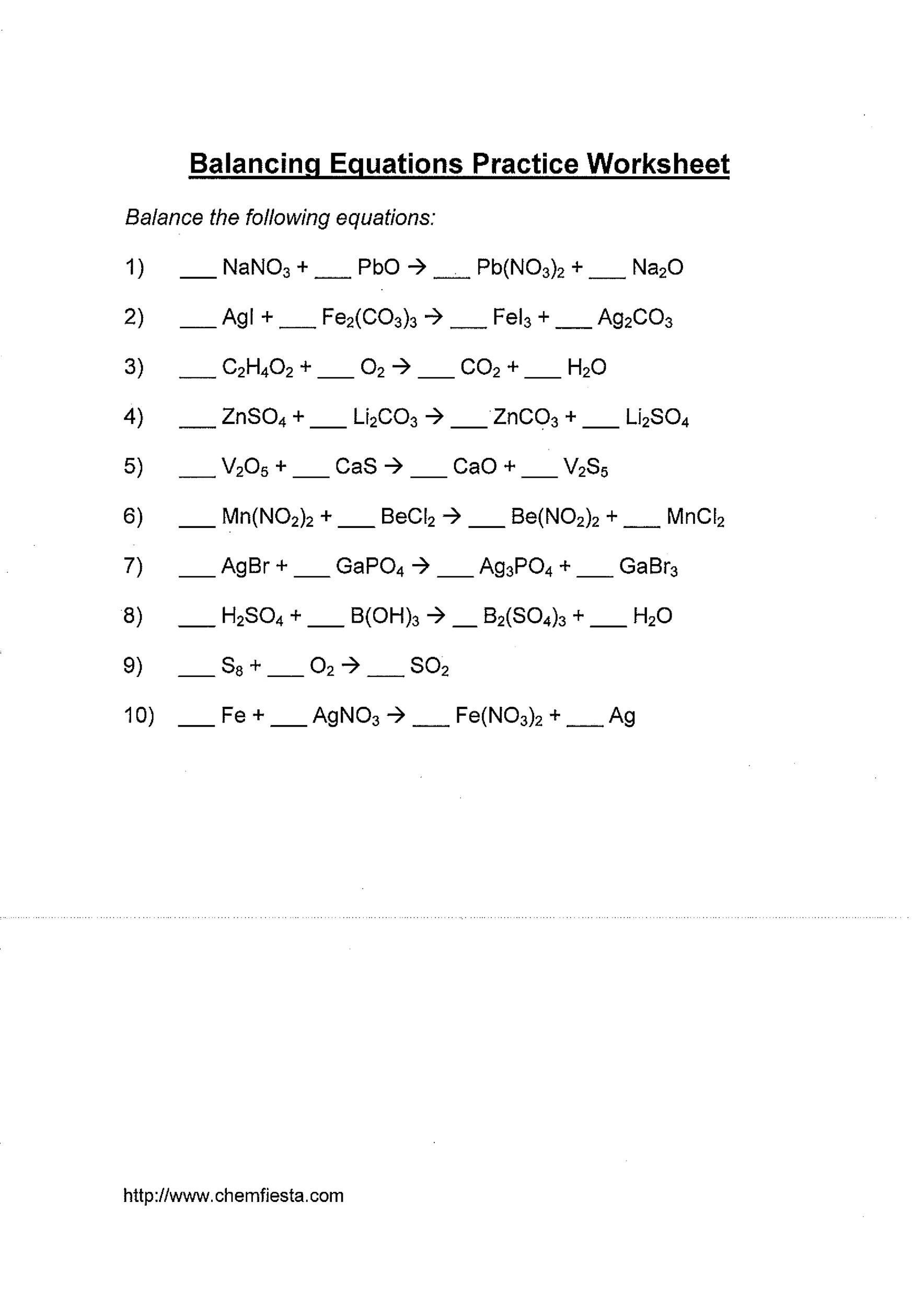 medium resolution of Balanced Equations Worksheet Balancing Act   Printable Worksheets and  Activities for Teachers