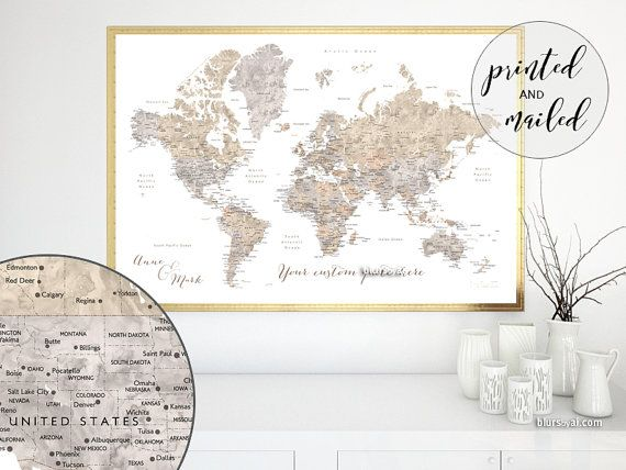 Custom quote world map print large map map for travel pinboard custom quote world map print large map map for travel pinboard watercolor world map poster travel art premade color map map141 082 gumiabroncs Images