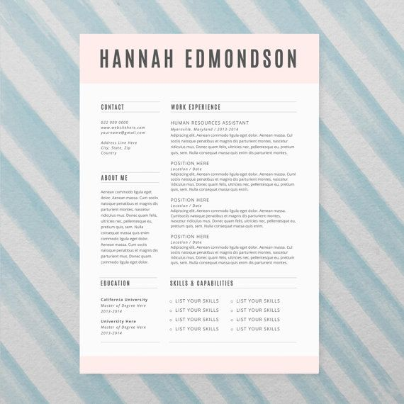 CV Design + Cover Letter, INSTANT DOWNLOAD, Printable Resume - resume template for microsoft word