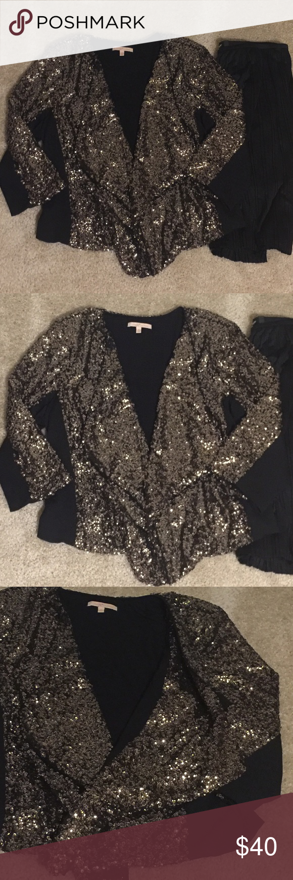Gibson Latimer Gold and Black Sequin Open Cardigan | Clothes