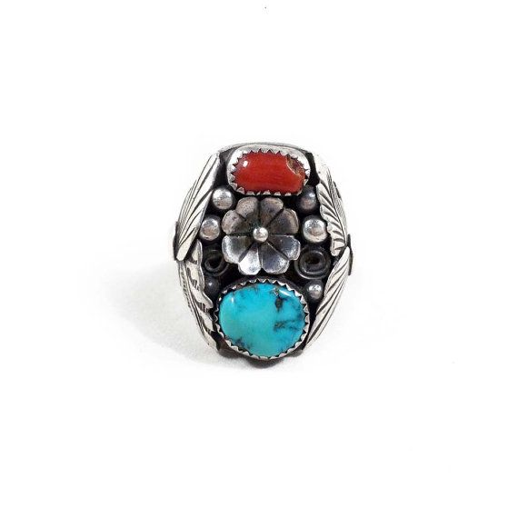 Vintage Mens Native American Turquoise and Coral Ring Sterling