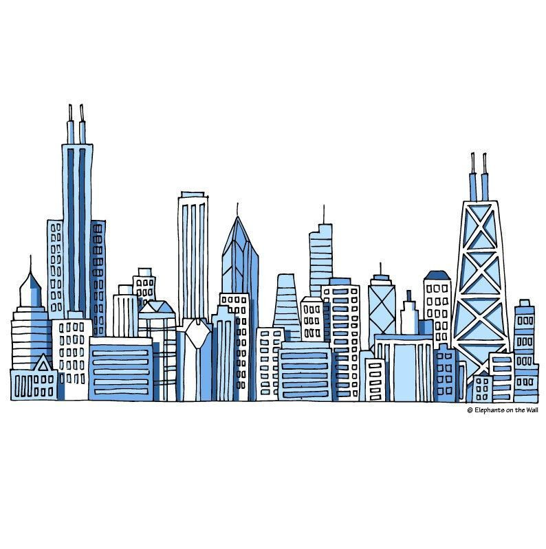 Chicago Skyline A Diy Paint By Number Wall Mural By Elephant On The Wall Skyline Painting Chicago Painting Chicago Skyline Art