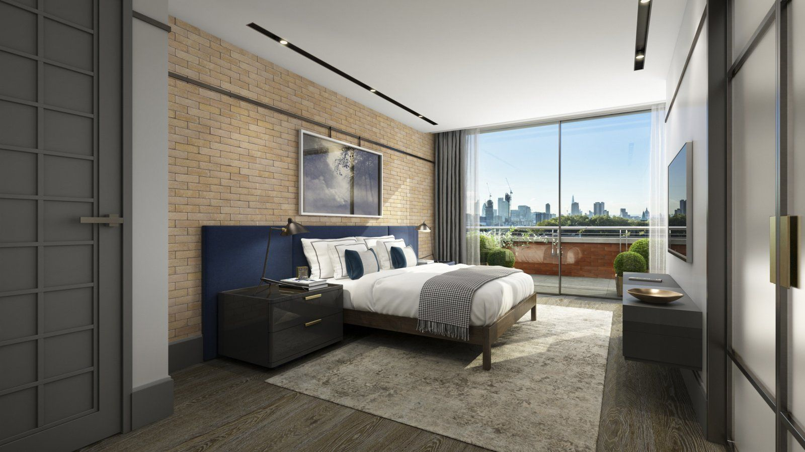 Bedroom area at a Penthouse apartment in Islington Square