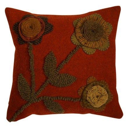 12x12 In Bloom Dark Orange - Felted Pillow with beautifully executed craftsmanship. $49.95 TO ORDER: greenlifestylebiz@gmail.com - Greenlifestylebiz on Facebook/Suzi M Green Interior Decorator Mpls MN on Pinterest