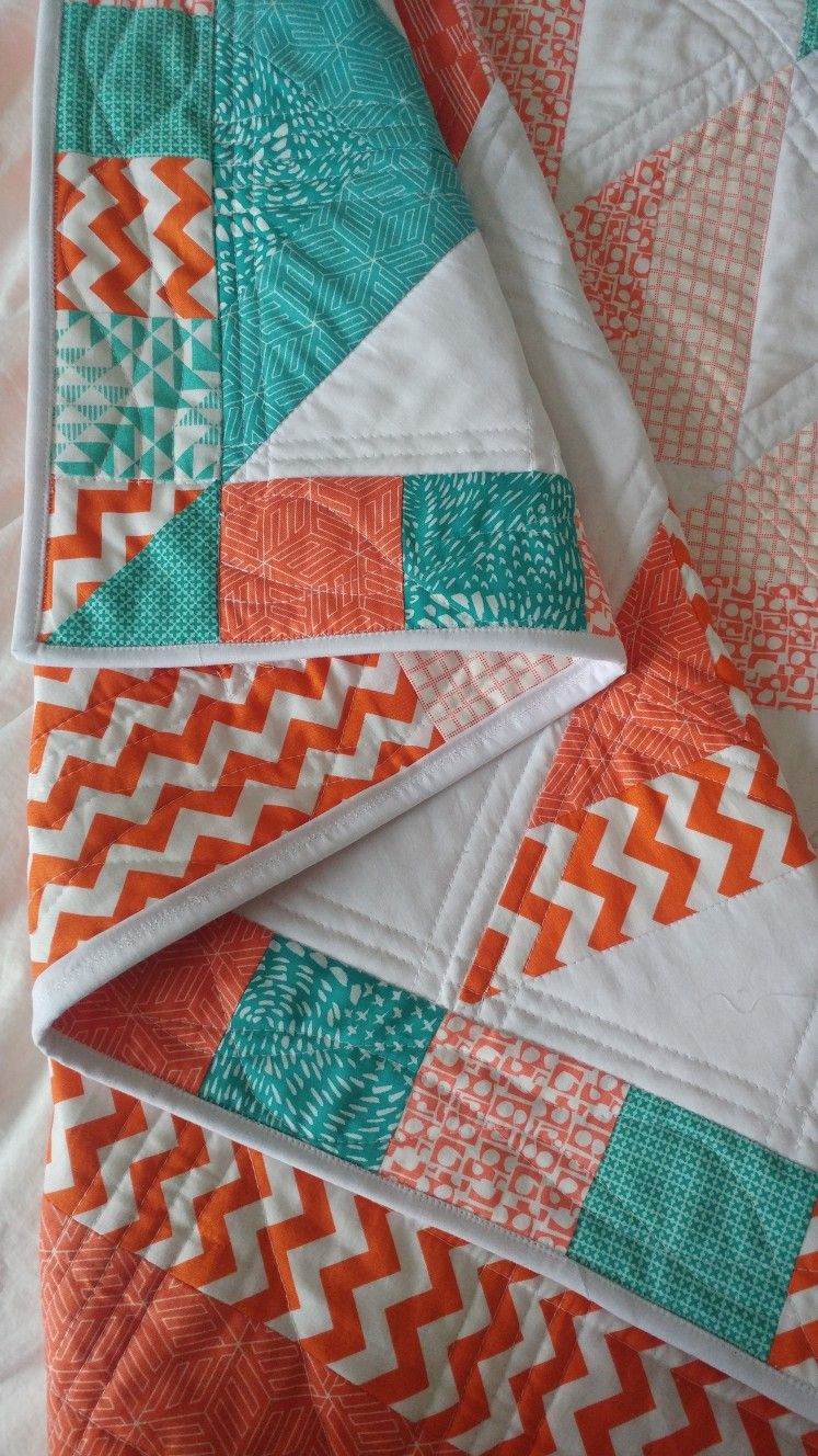 Orange Coral Turquoise Teal Quilt Flying Geese Teal Quilt Coral Quilt Turquoise Quilt