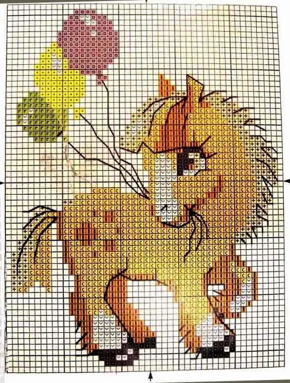 Schema punto croce - Pony con i palloncini  45feadf81901