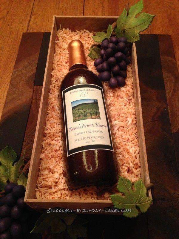 Cake Design Wine Bottle : Amazing Wine Bottle Cake for Mom s 60th Birthday Wine ...