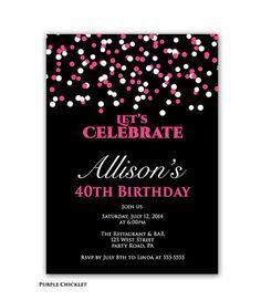 Confetti Birthday Party invitation Pink and Black 40th Birthday Invite Printable Adult Celebration Party Invite JPEG file (126)