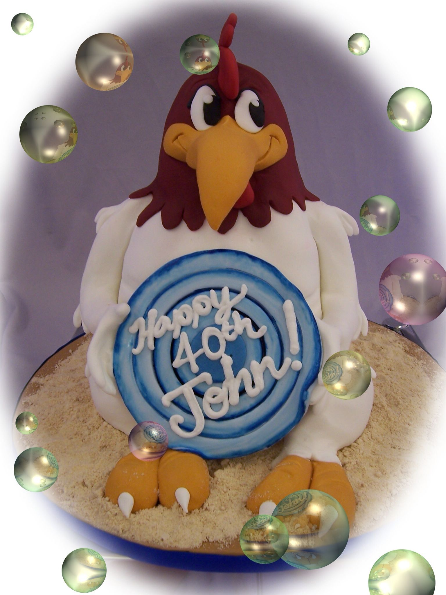 Foghorn leghorn rooster cake wwwthecakeboxcouk with